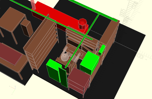 CAD model of planned desk setup