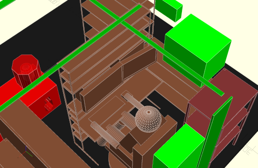 Zoomed in CAD model of planned desk setup